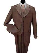 Bold Chalk Stripe 3 Piece Brown Lapel Gangster Pinstripe Luxurious Wool Feel Vested Suit