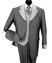 3 Piece Lapel Bold Chalk Stripe Wool Feel Vest And Cuff Black Fashion Suit