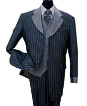 Bold Chalk Stripe Navy Notch Lapel Pinstripe 3 Piece Wool Feel Vest And Cuff Fashion Suit
