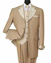 Bold Chalk Stripe Notch Lapel 3 Piece Wool Feel Pinstripe Vest And Cuff Tan Fashion Suit