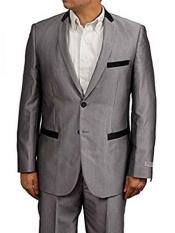 Men's Slim Fit Silver Grey ~ Gray Sharkskin Shiny With Black Trim Tuxedo