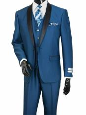 SKU#SM1963 Men's Two Toned Shawl Lapel Vested 3 Piece Sharkskin Shiny Black Lapel Suit Monaco Blue
