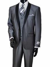 SKU#SM1974 Men's 3 Piece Metal Gray Shawl Lapel Vested Two Toned Sharkskin Shiny Black Lapel Suit