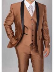 SKU#SM1972 Men's 3 Piece Shawl Lapel Cognac Sharkskin Shiny Two Toned Black Lapel Vested Suit