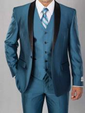 SKU#SM1976 Teal Blue Men's 3 Piece Vested Shawl Lapel Sharkskin Shiny Two Toned Black Lapel Suit