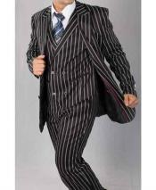 Mens Peak Lapel Black And White Gangster Pinstripe ~ Bold Stripe Chalk Double Breasted Vest Pleated Pants