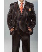 Mens Peak Lapel Navy Blue And Orange Pinstripe ~ Bold Stripe Chalk Double Breasted Vest Pleated Pants