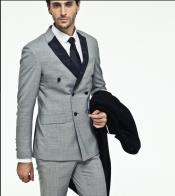 Mens Silver ~ Light Grey ~ Gray Double breasted suit with black lapel Tuxedo Wool Suit