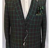 SKU#SM2038 Mens 2 Button Green Vested 3 Pieces Pleated Pants Plaid ~ Window Pane Patter