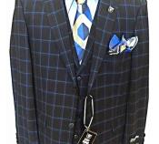 SKU#SM2035 Mens Blue 2 Button Vested 3 Pieces Plaid ~ Window Pane Patter Pleated Pants