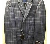 SKU#SM2031 Mens 2 Button Elbow Patch Vested 3 Pieces Plaid ~ Window Pane Patter Navy Pleated Pants