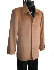SKU#SM2194 Men's Single Breasted 4 Button Camel Cashmere Wool Blend Winter Peacoat