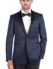 Shawl Collar Blue Textured