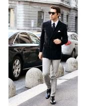 SKU#SS-51 Mens Black Stylish Casual Tailored Double Breast Velvet Jackets Blazer