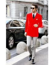 SKU#SS-52 Mens Red Stylish Casual Tailored Double Breast Velvet Blazer Jacket