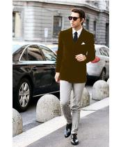 SKU#SS-58 Mens Dark Brown Stylish Double Breasted Casual Tailored Velvet Jackets Blazer