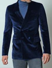 SKU#SM2224 Mens Dark Navy Blue Double Breasted Dinner Jacket Casual Velvet Fabric Sport Coat Jacket Blazer Tuxedo