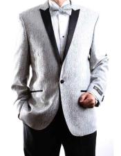 SKU#SM2233 Men's Silver One Button Satin Peak Lapel Superior 150s Extra Fine Fabric Tuxedo $140