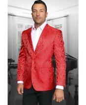SKU#SM2264 Mens Red Paisley Shiny Blazer & Sportcoat