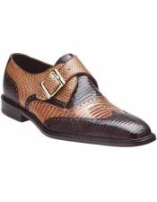 Mens Brown/Camel Genuine Lizard