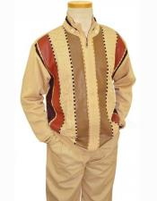 Men's 2 Piece Ivory/Chocolate Brown/Rust Leather Zip-Up Closure Sweater Outfit