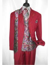 Men's Peak Lapel Red Pinstripe 3x2 Buttons Single Breasted Paisley Vested Zoot Suit