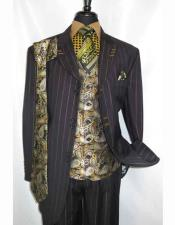 Men's 3x2 Buttons Peak Lapel Pinstripe Single Breasted Paisley Vested Black Zoot Suit