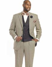 SKU#SM2448 Men's 1920s Wool Blend Notch Lapel Plaid Fashion Grey Jacket Vested Suits With Pant