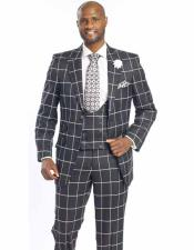 SKU#SM2445 Men's Peak Lapel New Plaid Wool Blend 3 Piece Black/White Suits Jacket+Vest+Pants