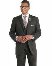 SKU#SM2454 Men's Black Formal Shadow Stripe 3 Piece Double Breasted Vest Tuxedo Wedding