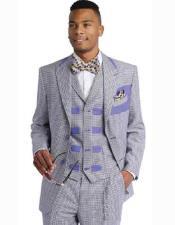 SKU#SM2459 Men's Peak Lapel 2 Button Lavender/Purple 3 Piece Micro Checked Dress Suit