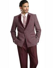 SKU#SM2452 Men's Single Breasted Wine Burgundy Notch Lapel 2 Piece Poly/Rayon Suit Jacket Pants