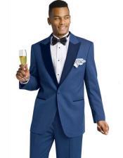 SKU#SM2456 Men's Blue 1 Button Peak Lapel Two Toned Tuxedo Formal Wedding 2 Piece Suit