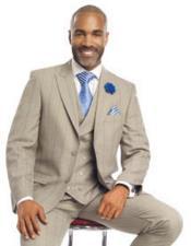 SKU#SM2450 Men's 3 Piece Peak Lapel Tan Blue Plaid Blazer Double Breasted Vest Suit