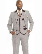 SKU#SM2458 Men's Single Breasted New 3 Piece Houndstooth Check Notch Lapel Vested Brown Suit