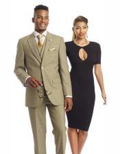 SKU#SM2451 Men's New 3 Piece Plaid Single Breasted Side Vent Olive Green Blazer Vest Suit