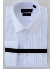 Mens White Cotton French Cuff Pleated Front Modern Fit Tuxedo Shirt