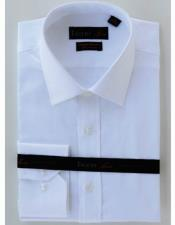Mens White Double Twist Cotton Modern Fit Solid French Cuff Tuxedo