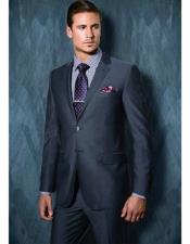 Tiglio Mens Blue Grey Single Breasted Notch Lapel Modern Fit 2 Button Wool Side Vent Suit