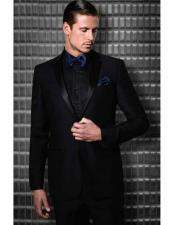 Mens Slim Fit Black Wool 2 Button Single Breasted Satin Notch