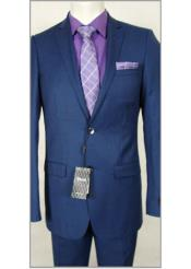 Slim Fit French Blue Wool Dress Suit