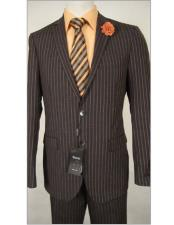 Slim Fit Brown Stripe Wool Dress Suit