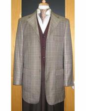 Brand Three Three ~ 3 Buttons Checker Pattern 95% Wool5% Cashmere Sport Jacket Blazer Coat Grey