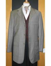 Brand 95% Wool5% Cashmere Three Three ~ 3 Buttons Gray Checker Pattern Sport Jacket Blazer Coat