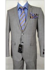 Tiglio Slim Fit Light Grey/Blue Stripe Suit