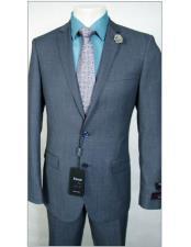 Tiglio Slim Fit Dress Wool Blue Birdseye Suit