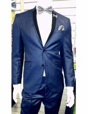 Dark Navy ~ Dark Royal Blue Tuxedo 2 Button Black Lapel Slim Dress Suits for Men (