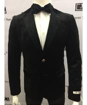 Velvet Jacket Peak Lapel Single Button Slim Fit Blazer Sport coat Jacket