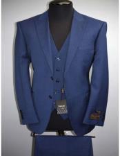 Luxe Tufo Mens Italian Modern Fit 2 Button Fine Wool Peak
