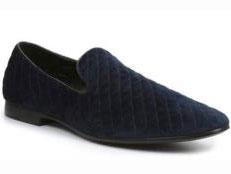 Mens Quilt Style Velvet Evening Slip On Tuxedo Formal Looking Navy